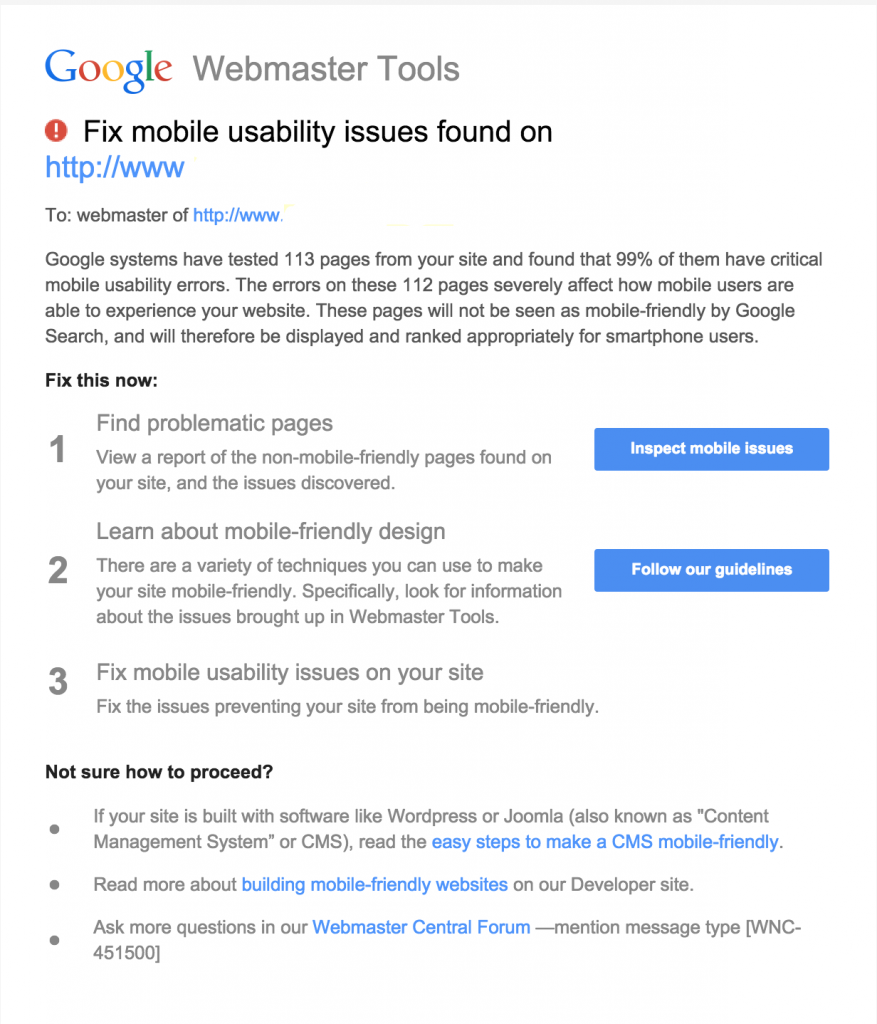 Google Mobile Usability Warnings