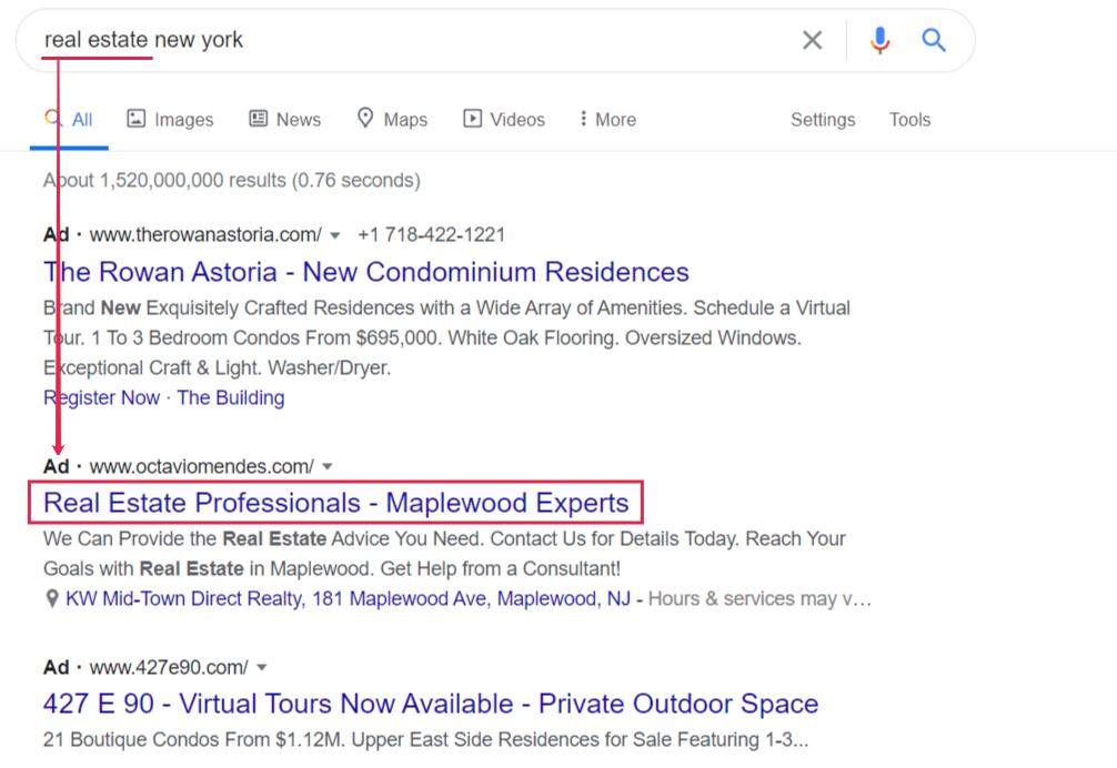google ad keywords