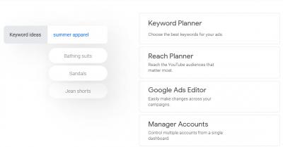 Keywords planner google ads
